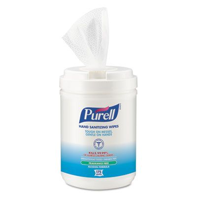 "GOJO 903106 Purell Hand Sanitizing Wipes, Alcohol, 6"" x 7"", 175 / Canister - 6 / Case"