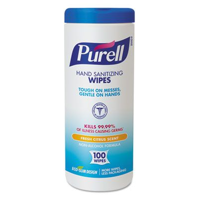 """GOJO 911112 PURELL Hand Sanitizing Wipes, Alcohol Free, 5.78"""" x 7"""", 100 / Canister - 12 / Case"""