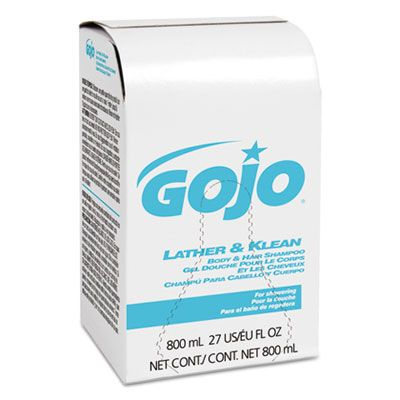 GOJO 912612 Lather & Klean Body & Hair Shampoo, 800 mL Refill - 12 / Case