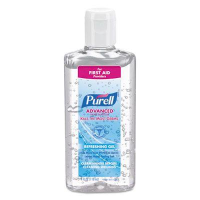 Gojo 965124 PURELL Hand Sanitizer Gel, 4 oz Flip Top Bottle, Clear - 24 / Case