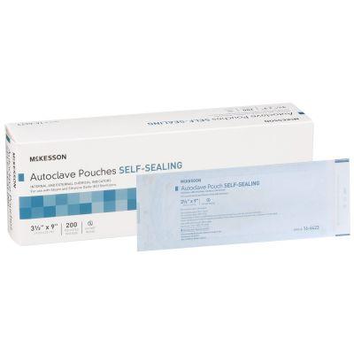 "McKesson 16-6423 Autoclave Pouches, Self-Sealing, Class 1 Sterilization, 3.5"" x 9"", Transparent Blue / White Self Seal Paper / Film - 2000 / Case"