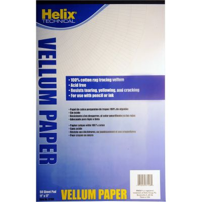 """Helix 37106 Vellum Pad of Tracing Paper, 11"""" x 17"""", 50 Sheets / Pad - 1 / Case"""