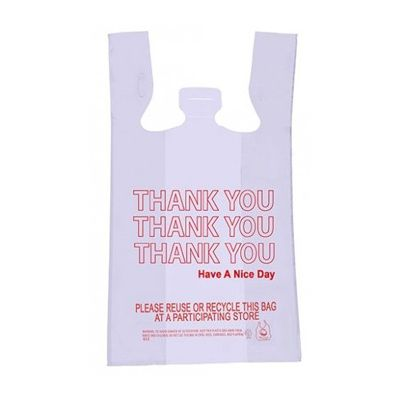 "Hercules Poly HP0020-0007 1/6 Size Plastic Thank You T-Sack Bags, 11.5"" x 6.5"" x 21"", White - 1000 / Case"