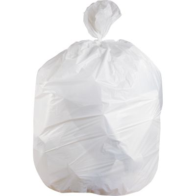 "Heritage H6639TW 33 Gallon Trash Can Liners / Garbage Bags, 0.9 Mil, 33"" x 39"", White - 150 / Case"