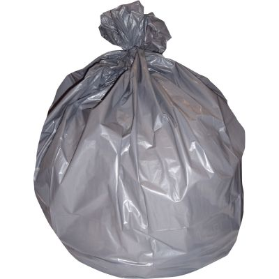 "Heritage H7658SG 60 Gallon Trash Can Liners / Garbage Bags, 1.1 Mil, 38"" x 58"", Gray - 100 / Case"