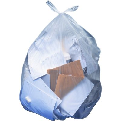 "Heritage H8053PCR01 55 Gallon Trash Can Liners / Garbage Bags, 1.30 Mil, 40"" x 53"", Clear - 100 / Case"