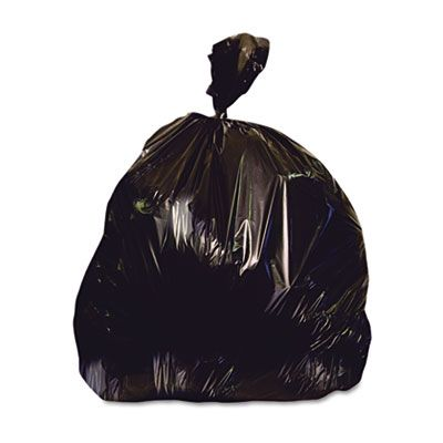 """Heritage X6639QK 33 Gallon Repro Trash Can Liners / Garbage Bags, 2 Mil, 33"""" x 39"""", Black - 100 / Case"""