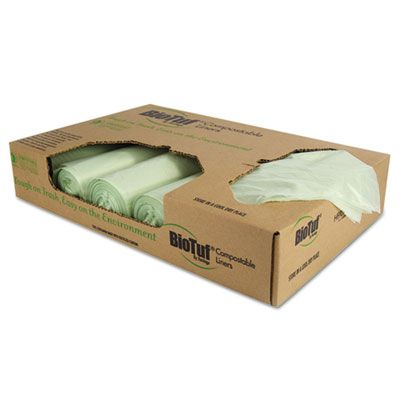"Heritage Y8448YER01 BioTuf 48 Gallon Compostable Can Liners, 42"" x 48"", 1 Mil, Light Green - 100 / Case"