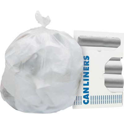 "Heritage Z7660VNR01 60 Gallon Trash Can Liners / Garbage Bags, 16 Mic, 38"" x 60"", Natural - 200 / Case"