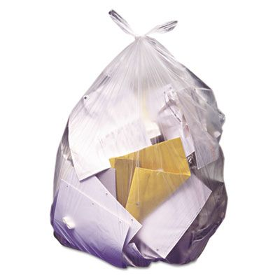 "Heritage Z8648UNR01 56 Gallon Trash Can Liners / Garbage Bags, 22 Mic, 43"" x 48"", Natural - 150 / Case"
