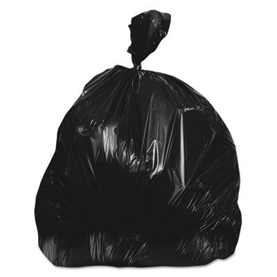 "Heritage Z8648WKR01 56 Gallon Trash Can Liners / Garbage Bags, 22 Mic, 43"" x 48"", Black - 150 / Case"