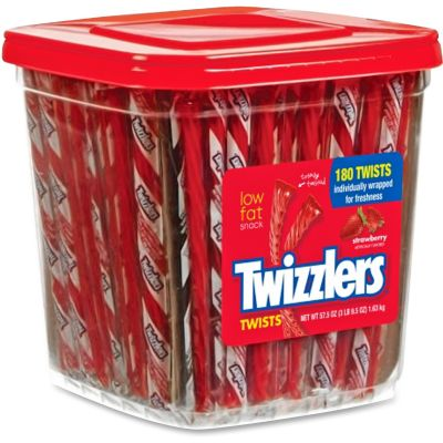 Hershey Co 51922 Twizzlers Strawberry Twists, Individually Wrapped, 180 Twists / 57.5 oz Container - 4 / Case