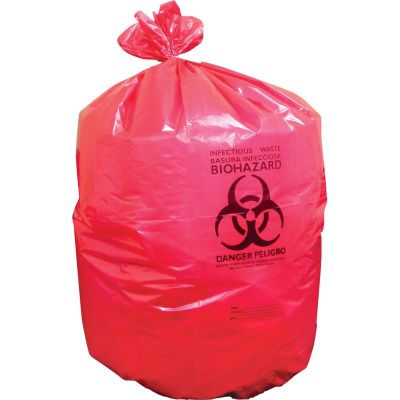 "Heritage A8046PR Biohazard Waste Bags / Can Liners, 1.3 Mil, 40"" x 46"", Red - 200 / Case"