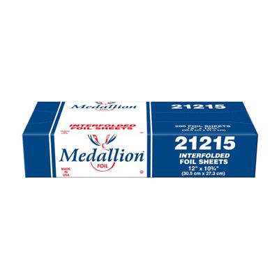 "HFA 21215 Medallian Interfolded Aluminum Foil Sheets, 12"" x 10.75"" - 2400 / Case"