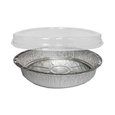 HFA 846COMBO Handi-Stax Round Aluminum Foil Container w/ Plastic Dome Lid, 48 oz, Silver / Clear - 150 / Case