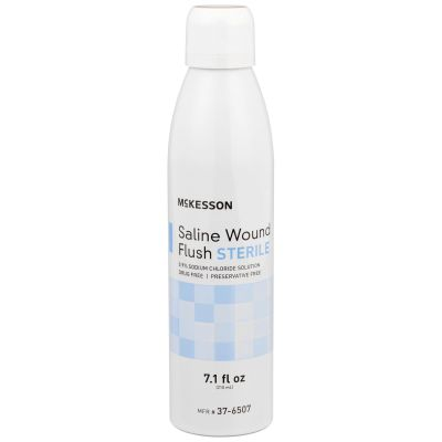 McKesson 37-6507 Saline Wound Flush, 0.9% Sodium Chloride Solution, 7.1 oz Spray Can, Sterile - 12 / Case