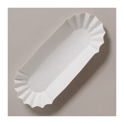 "Hoffmaster 610740 Hot Dog Trays, 6"" Fluted Paper, White - 3000 / Case"