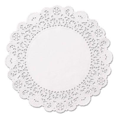 """Hoffmaster LA9052M 5"""" Brooklace Paper Lace Doilies, White - 2000 / Case"""