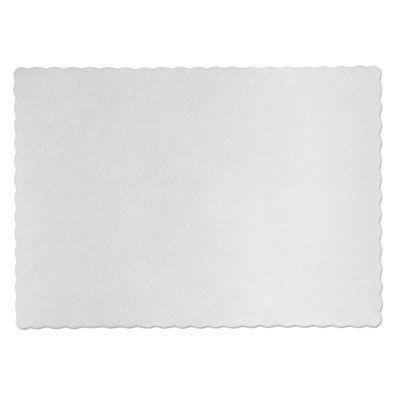 "Hoffmaster PM32052 Knurl Embossed Scalloped Edge Placemats, 9-1/2"" x 13-1/2"", White - 1000 / Case"