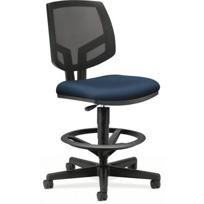 The HON Company 5715GA90T Volt Task Stool on Wheels, Mesh Back, No Arms, Adjustable Height, Navy Fabric Seat - 1 / Case