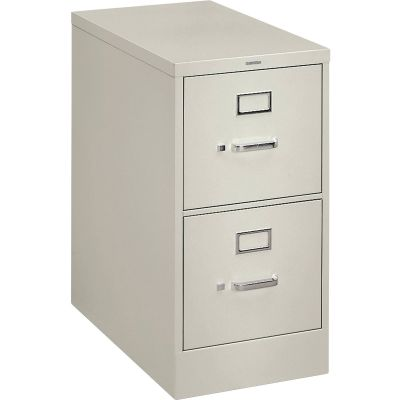 "The HON Company H322Q 2-Drawer Vertical Filing Cabinet, 15"" x 26.5"" x 29"", Light Gray - 1 / Case"