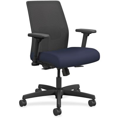 The HON Company I2L1AMLC98TK Ignition Task Chair on Wheels, Mesh Back, Navy Fabric Seat - 1 / Case