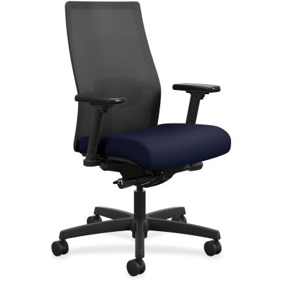 The HON Company I2M2AMLC98TK Ignition Mid-Back Task Chair on Wheels, Mesh Back, Navy Fabric Seat - 1 / Case
