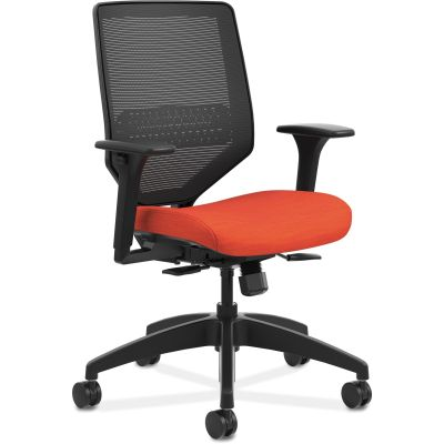 The HON Company SVMM1ALCO46 Solve Mid-Back Task Chair with Wheels, Mesh Back, Bittersweet Fabric Seat - 1 / Case