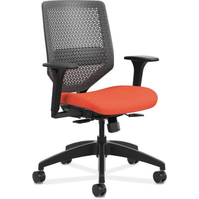 The HON Company SVMR1ACLCO46 Solve Mid-Back Task Chair with Wheels, Mesh Back, Red Fabric Seat - 1 / Case