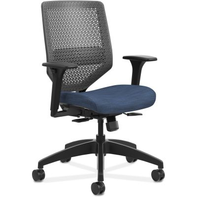 The HON Company SVR1ACLC90TK Solve Task Chair with Wheels, Adjustable Arms, Mesh Back, Midnight Fabric Seat - 1 / Case
