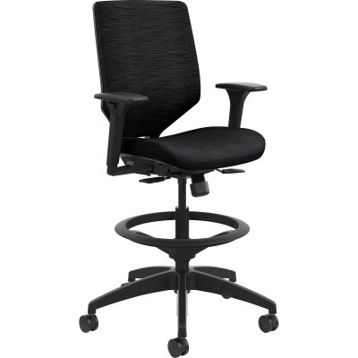 The HON Company SVSU1ACLC10T Solve Task Stool with Wheels, Ink ReActiv Fabric Back - 1 / Case