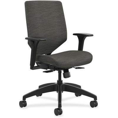 The HON Company SVU1ACLC10TK Solve Mid-Back Task Chair on Wheels, Adjustable Arms, Ink Fabric - 1 / Case