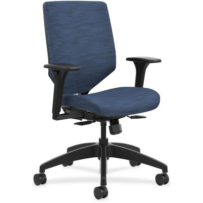 The HON Company SVU1ACLC90TK Solve Mid-Back Task Chair on Wheels, Adjustable Arms, Midnight Fabric - 1 / Case