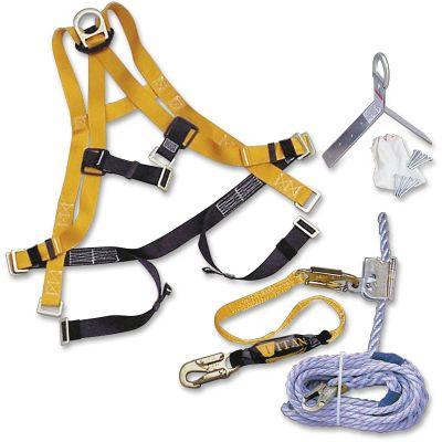Honeywell TRK4000U50 Titan Roofing Fall Protection Kit, 50' Rope Lifeline, Yellow - 1 / Case