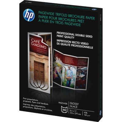 "Hewlett-Packard Z7S65A PageWide Brochure / Flyer Paper, Glossy, Tri-fold, 8-1/2"" x 11"", White - 200 / Case"