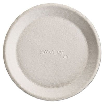"Huhtamaki Chinet 10117 Savaday 10"" Molded Fiber Paper Dinner / Pie Plates, Round, Cream - 500 / Case"