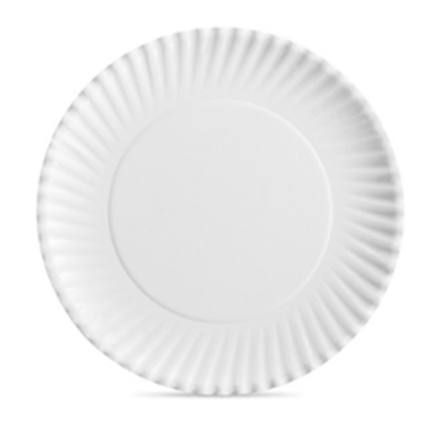 """Aspen 30400 9"""" Spiral Fluted Paper Plates, Uncoated, White - 1000 / Case"""