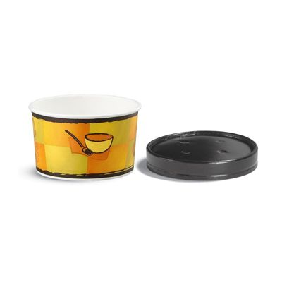 Huhtmaki 71852 Chinet 16 oz Squat Paper Soup / Food Container with Vented Lid - 250 / Case