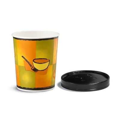 Huhtamaki 71853 Chinet 32 oz Paper Soup / Food Container with Vented Lid - 250 / Case