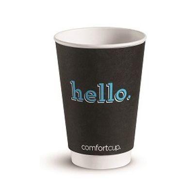 Huhtamaki Chinet 63517 16 oz Comfort Paper Hot Cups, Printed 'hello.' - 465 / Case