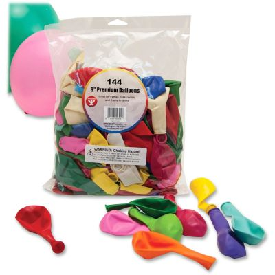 """Hygloss 10304 9"""" Premium Latex Balloons, Assorted Colors - 144 / Case"""