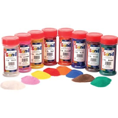 Hygloss 29129 Colored Natural Sand, 1 lb, Assorted Colors - 12 / Case