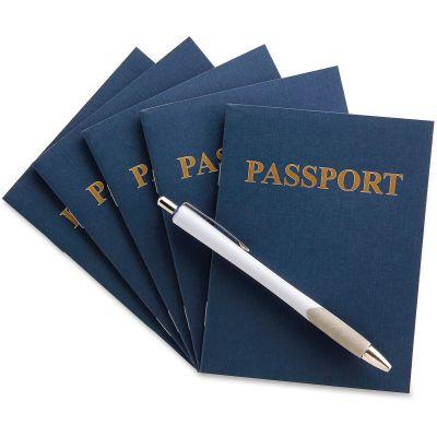 "Hygloss 32610 Kids Craft Blank Passport Book, 4-1/4"" x 5-1/2"", Navy - 24 / Case"