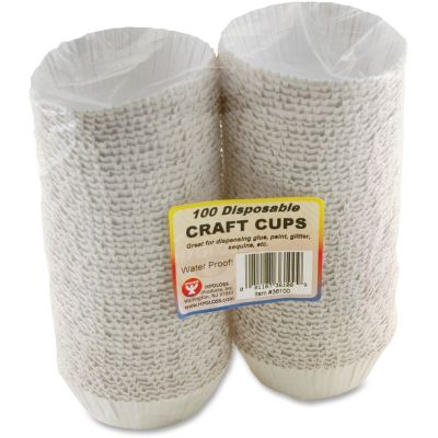 Hygloss 36100 Disposable Craft Cups, White - 100 / Case