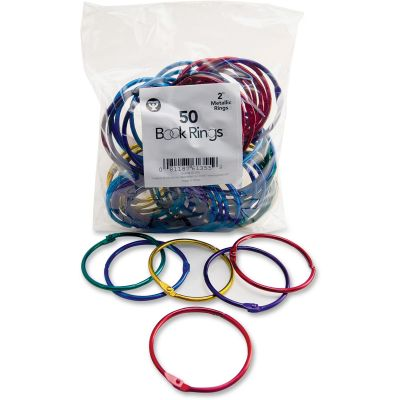 "Hygloss 61355 2"" Book Rings, Metal, Assorted Colors - 50 / Case"