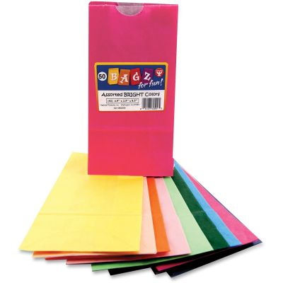 """Hygloss 62509 Bright Color Bagz Paper Craft / Lunch Bags, 4-1/2"""" x 2-1/2"""" x 8-1/2"""" - 50 / Case"""
