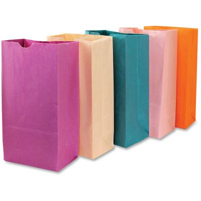 "Hygloss 66559 Bright Color Bagz Paper Craft / Lunch Bags, 6"" x 2-1/2"" x 11"" - 50 / Case"