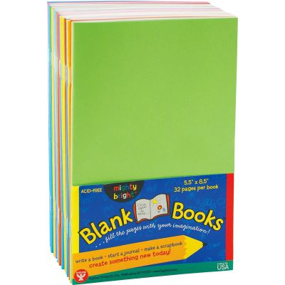 """Hygloss 77720 Mighty Bright Blank Paperback Books, Acid-Free, 5-1/2"""" x 8-1/2"""" - 20 / Case"""