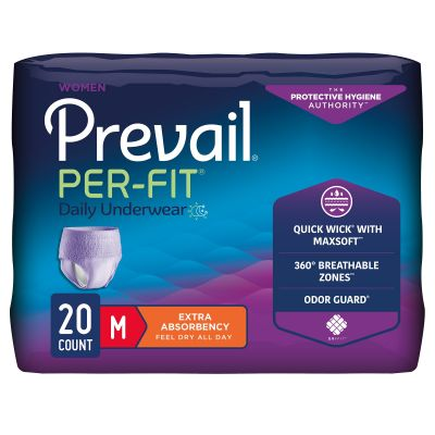 """First Quality PFW-512 Prevail Per-Fit Absorbent Underwear, Women, Medium (34 to 46""""), Moderate Absorbency - 20 / Case"""