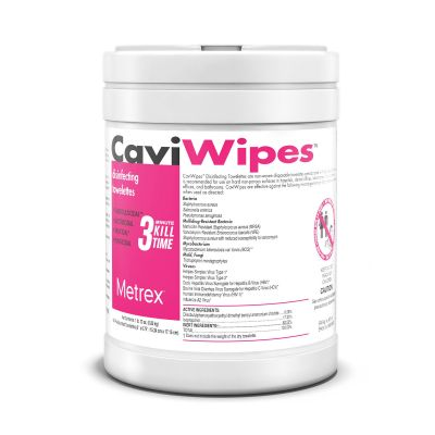 """Metrex Research 13-1100 CaviWipes Surface Disinfectant Wipes, Alcohol, 6"""" x 6.75"""", NonSterile - 1920 / Case"""